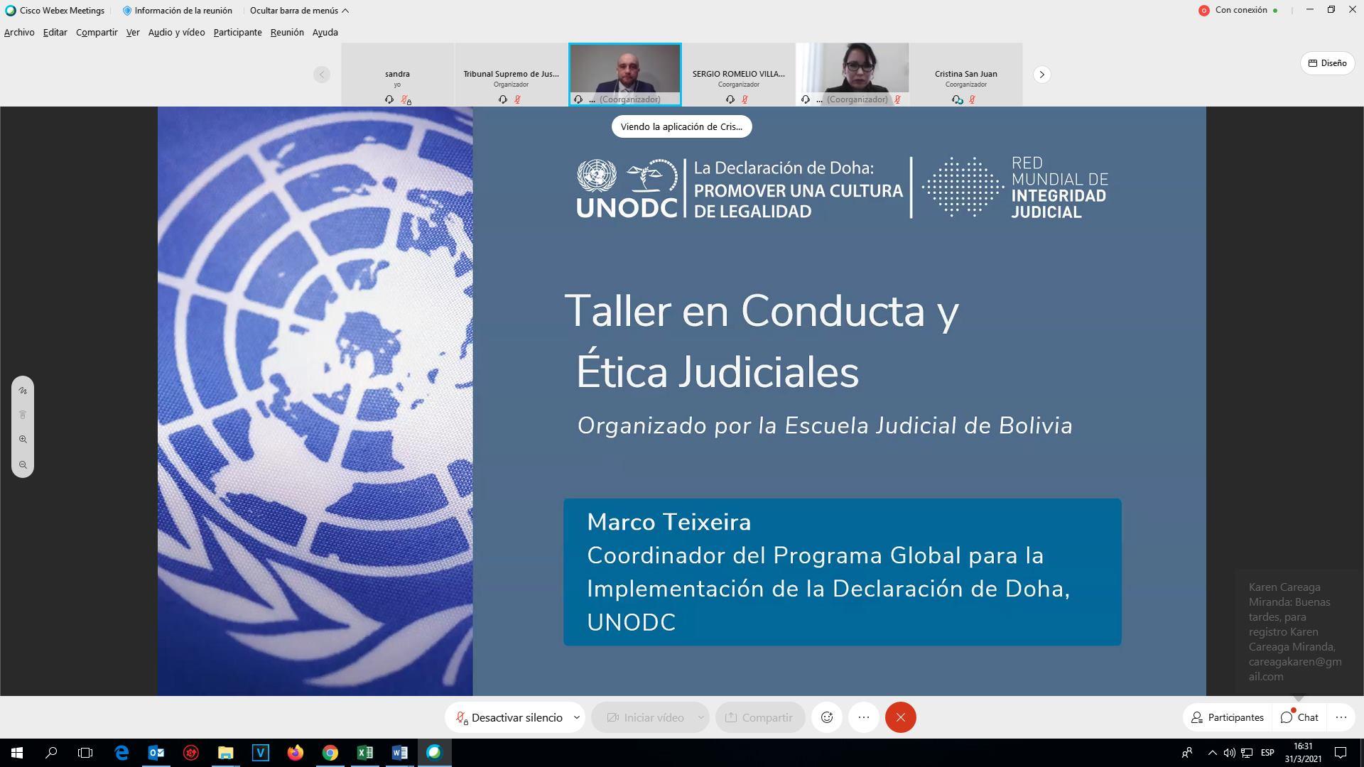 EJE Y UNODC DESARROLLAN CURSO SOBRE ÉTICA JUDICIAL