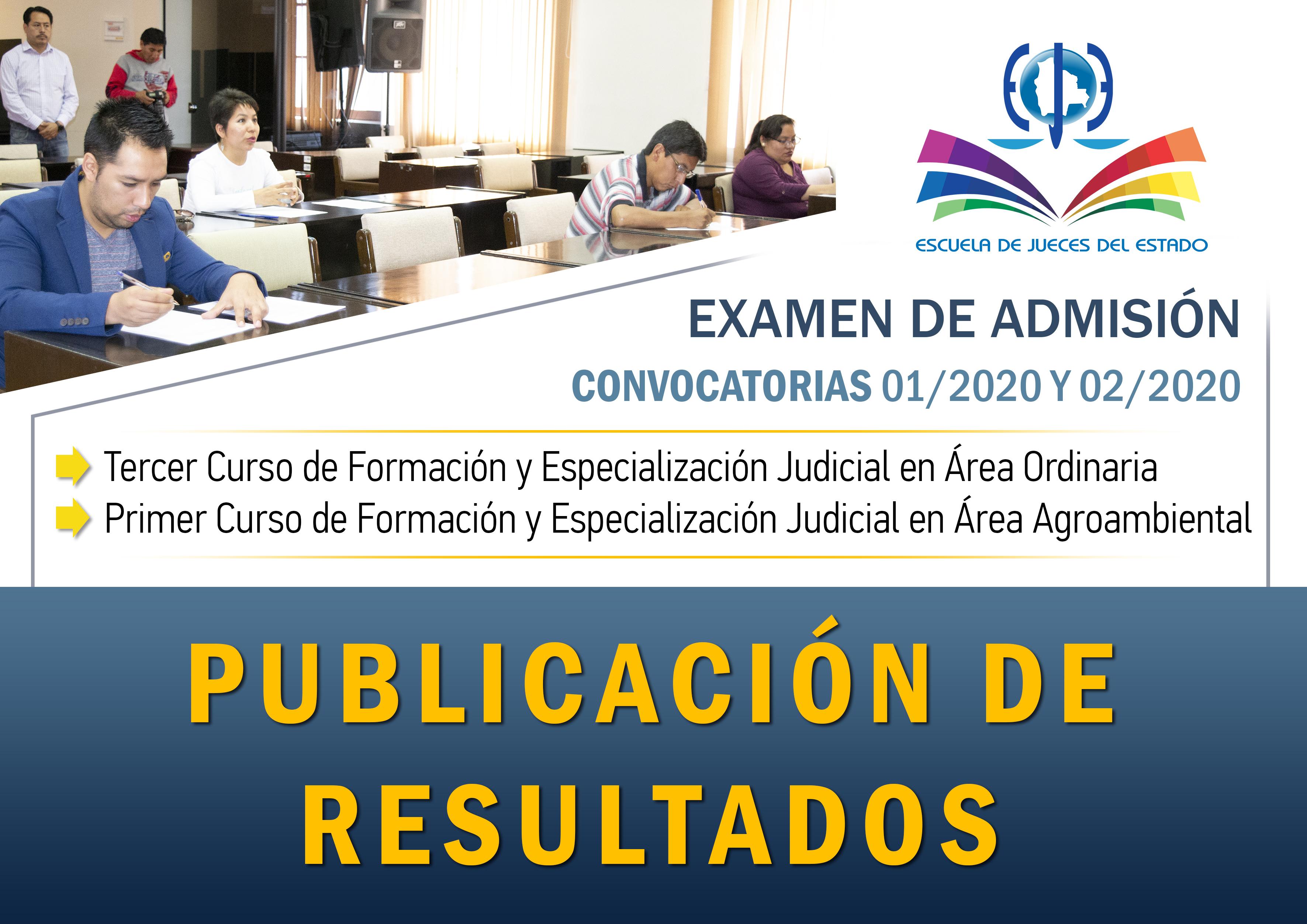 PUBLICACIÓN DE RESULTADOS CONVOCATORIA 01/2020 Y 20/2020